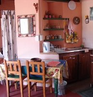 The kitchen area in the bush chalet
